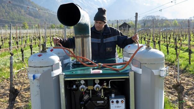 Weinbauer hinter Maschine.