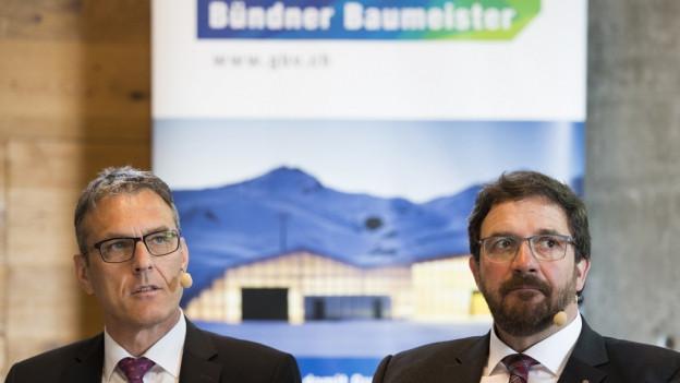 Der Geschäftsleiter und der Präsident des Bündner Baumeisterverbandes.