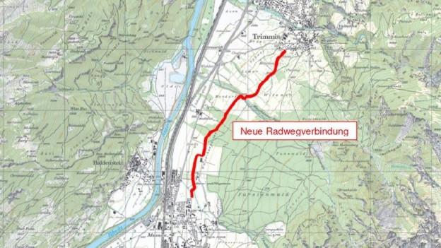 Karte mit eingezeichnetem Weg