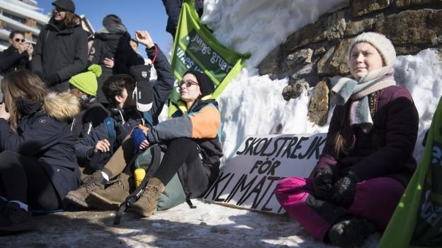 Mini-Schulstreik in Davos.