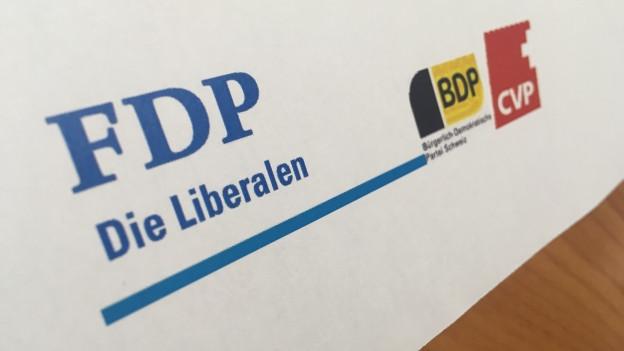 Parteienlogo von FDP, BDP und CVP
