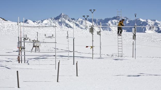 Messtation im Schnee