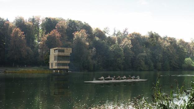 So soll der Zielturm im Rotsee aussehen.