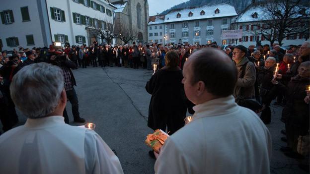 Hunderte Sympathisanten versammelten sich in Chur.