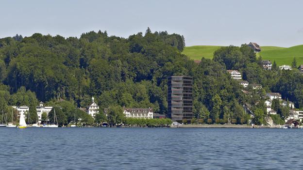 Bisher nur als Bildmontage: Das neue Hochhaus bei der Seeburg soll bis 40 Meter hoch werden.