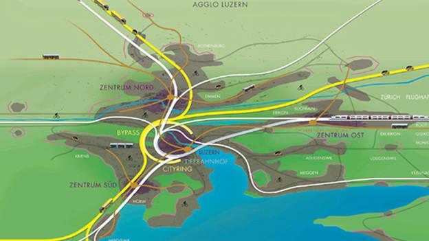 So soll dereinst die Autobahnumfahrung von Luzern aussehen.