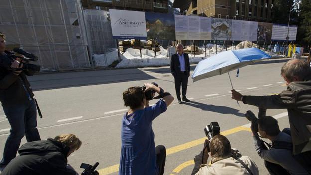 Stand in Andermatt im Zentrum des Interesses: Samih Sawiris.