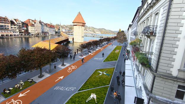 So könnte die Luzerner Bahnhofstrasse der Zukunft aussehen.