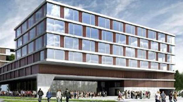 So soll das 120 Millionen Franken teure Bauprojekt auf der Spichermatt in Stans dereinst aussehen.