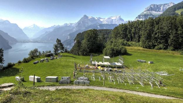 Der Aufbau für das Seelisberg-Rütli Festival läuft.