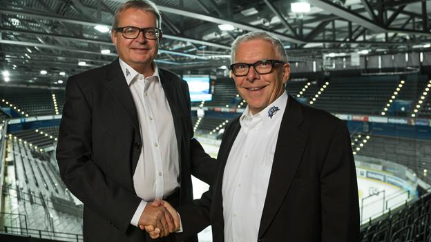 EVZ Präsident Roland Stärkle und Donator Hans-Peter Strebel