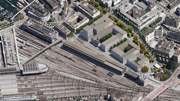Hinter dem Bahnhof Luzern soll ein neues Quartier entstehen