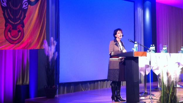 Bundesrätin Doris Leuthard stiess am Podium in Altdorf vor allem auf Unterstützung.