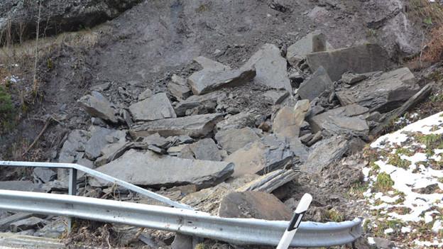 Immer wieder rutschen Fels und Geröll in die Lammschlucht und behindern die Strasse - wie hier im Februar 2014.
