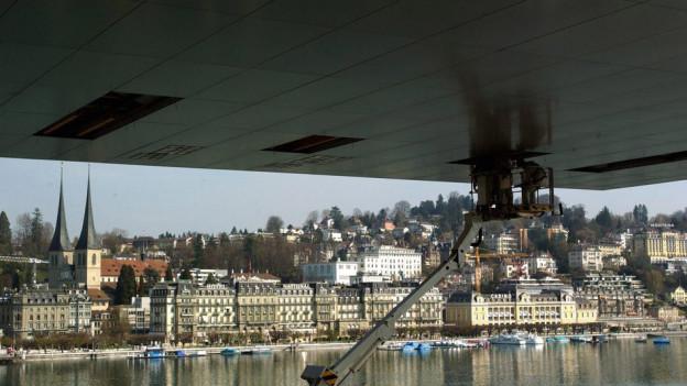 Dicht unter dem Dach des Kunst- und Kongresszentrums Luzern.