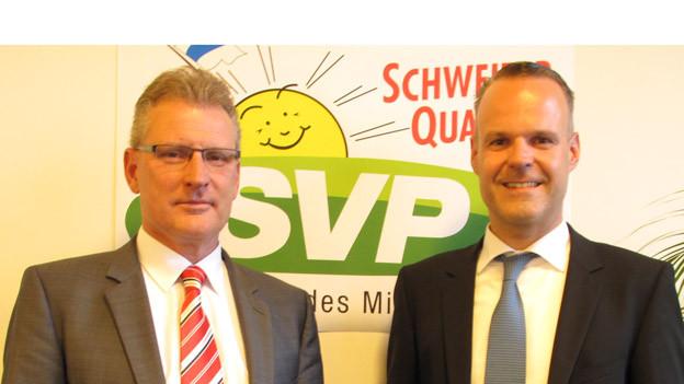 Heinz Tännler (links) und Stephan Schleiss, sollen für die Zuger SVP die beiden Sitze in der Regierung verteidigen.