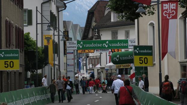 Das Ziel der Tour de Suisse war mitten im Dorfzentrum.