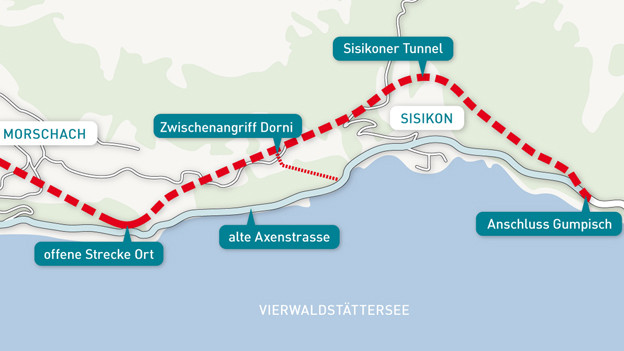 Die Linienführung der neuen Axenstrasse.
