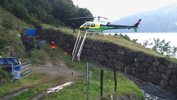 Vorbereitungen zu Felssprengungen in Weggis.