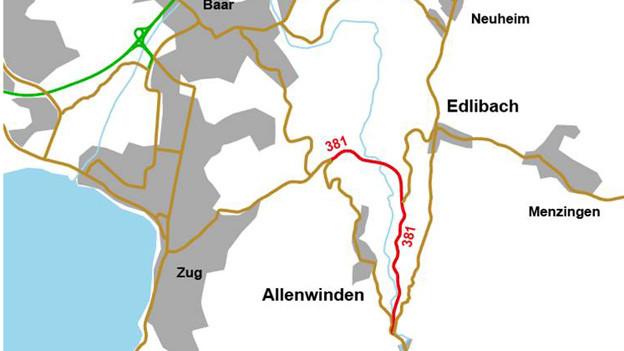 Die Strasse ins Lorzental (rot) muss saniert werden.