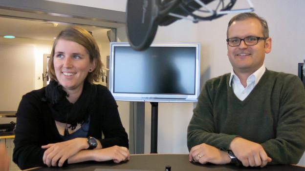 Priska Lorenz und Adrian Bühler im Gespräch.