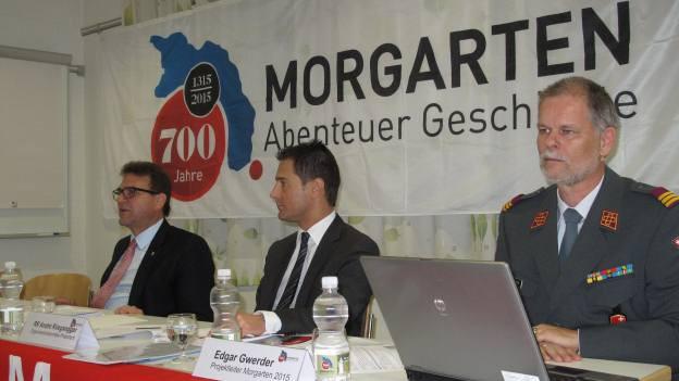 Verantwortliche des Morgarten-Jubiläums stellen Projekte vor.