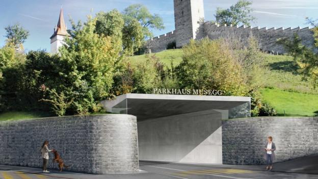So könnte der Eingang zum Parkhaus Musegg aussehen.