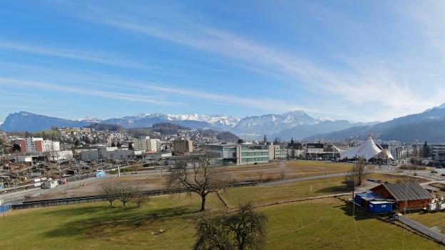 In diesem Gebiet, dem Mattenhof in Kriens an der Grenze zu Luzern, soll die «Pilatus Arena» gebaut werden.