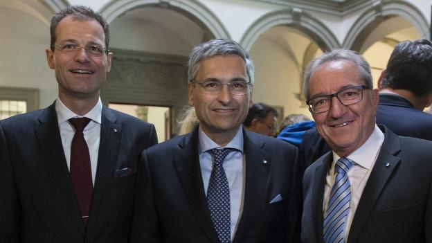 Guido Graf (CVP), Robert Küng (FDP) und Reto Wyss (CVP) haben die Wiederwahl in die Luzerner Regierung geschafft