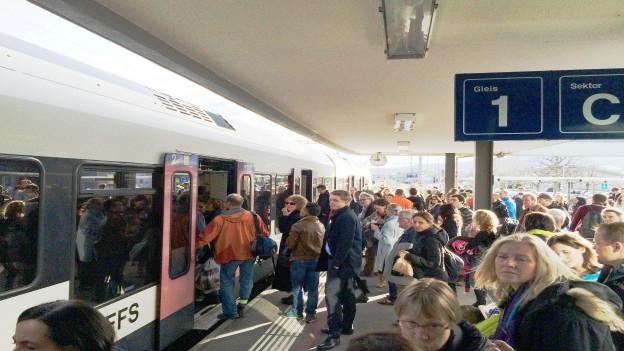 Pendler brauchten am Dienstag viel Geduld - wie hier am Bahnhof in Rotkreuz