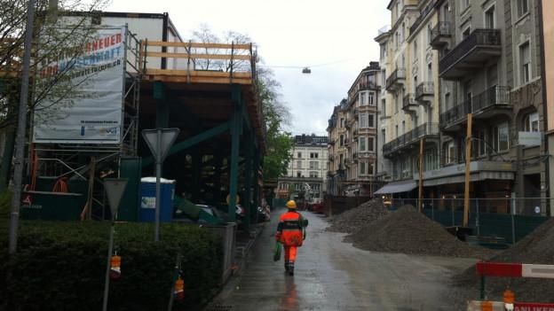 Bauarbeiten mitten in der Stadt Luzern.