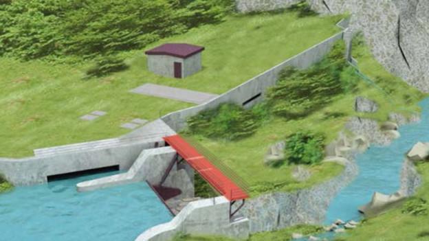 Visualisierung eines Abschnitts des Wasserkraftprojekts am Alpbach