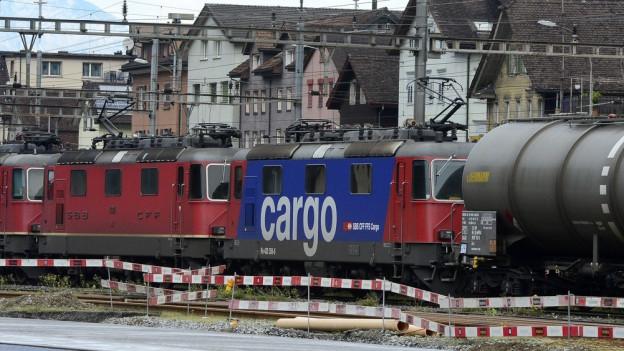 Ein Güterzug im Bahnhof Erstfeld.