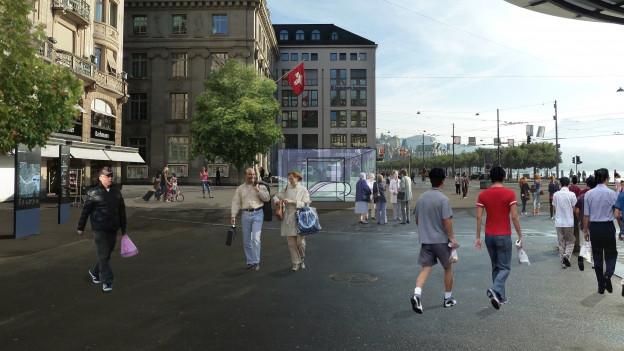 Visualisierung der Metrostation am Schwanenplatz in Luzern.