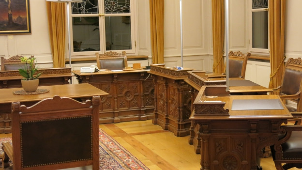 Das Regierungszimmer der Urner Regierung.