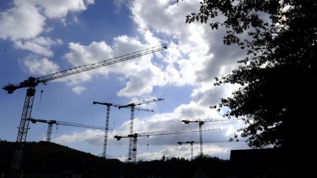 Kräne vor wolkenverhangenem Himmel.