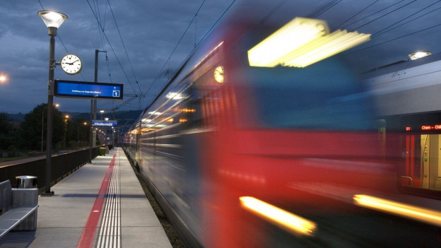 Eine S-Bahn fährt durch einen Bahnhof.