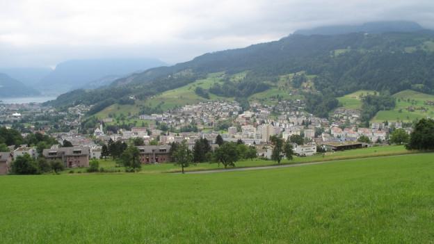Die Gemeinde Kriens vom Sonnenberg aus gesehen.