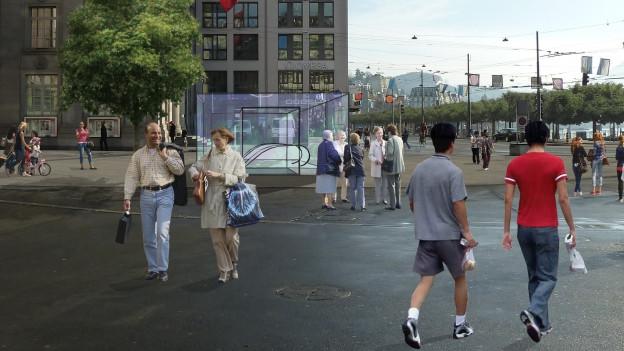 So könnte die Metro-Station in Luzern aussehen.