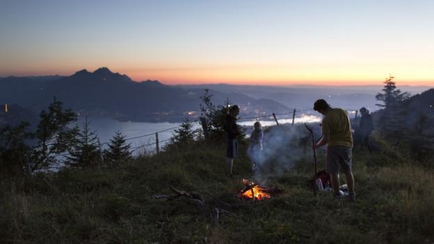 Feuerstelle auf der Rigi.