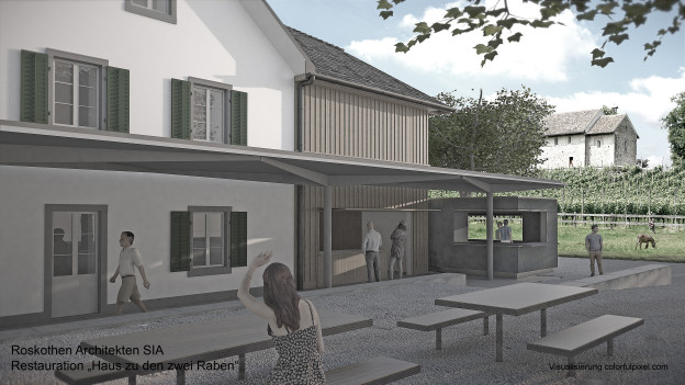 Visualisierung der geplanten Umbauten auf der Zürichseeinsel Ufenau
