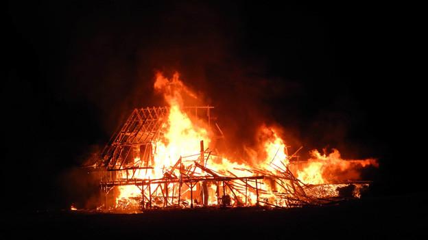Der Stall in Arth brannte vollständig ab.