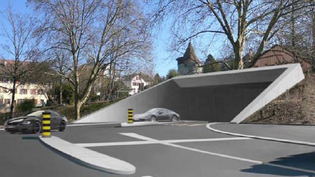 Schlicht zu teuer: Visualisierung eines Zuger Stadttunnel-Portals.