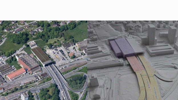 Visualisierung der Umfahrung der Stadt Luzern.