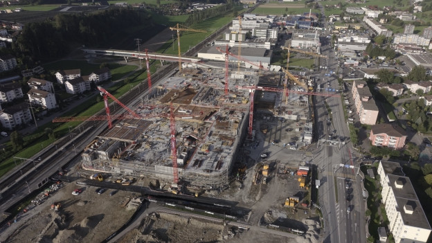 Baustelle eines Einkaufszentrums in Ebikon.