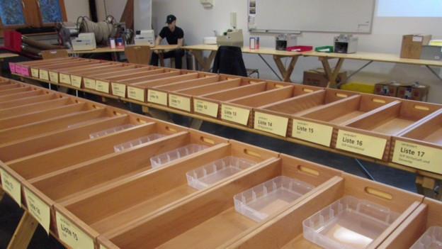 Alles bereit für die Auszählung der Wahlen in Zug.