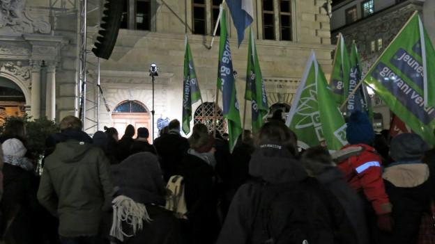 Kundgebung gegen Sparpläne in Luzern.