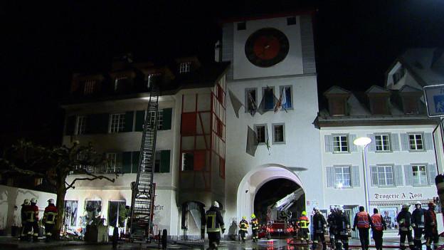 Ein Grossbrand in Willisau forderte die 130 Feuerwehrleute