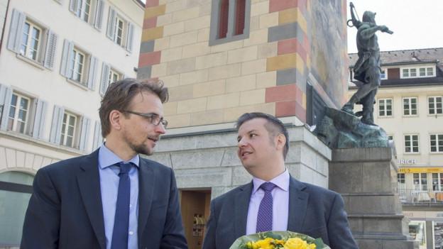 Neu in der Urner Regierung: Urs Janett (FDP, links) und Dimitri Moretti (SP).