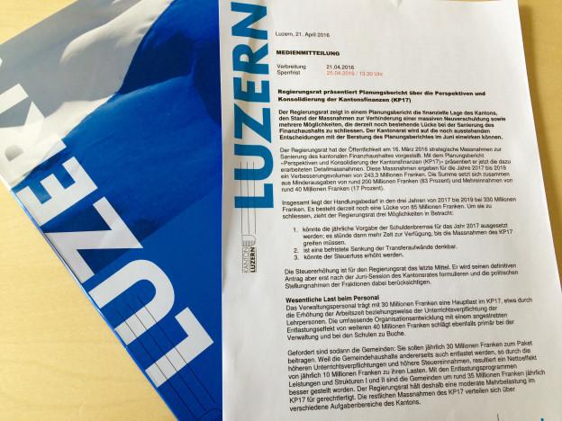 Sparmassnahmen im Kanton Luzern: Regierung legt Planungsbericht vor.